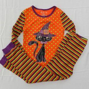 Girls Size 8 Halloween Pajamas Orange Black Cat